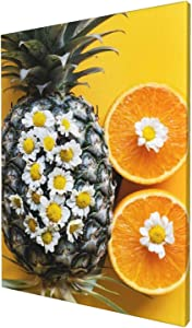 Pineapple Orange Chamomile Flowers Fruit Canvas Wall Art Pineapple Prints Home Decor Picture for Bedroom Bathroom Kitchen Office 12