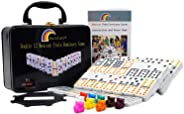 Kalolary Double 12 Mexican Train Dominoes Game Accessories in an Iron Box, with Instruction Booklet and Score Pads, 91 Tiles