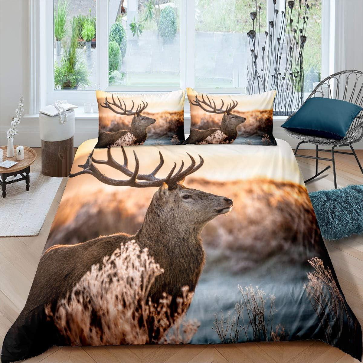 Castle Fairy 3D Elk Animals Type Microfiber Duvet Cover Twin Realistic Deer Printed Bedding Sets for Boys Girls Teen Winter Scenes 2 Pieces Comforter Sets(1 Duvet Cover 1 Pillow case)