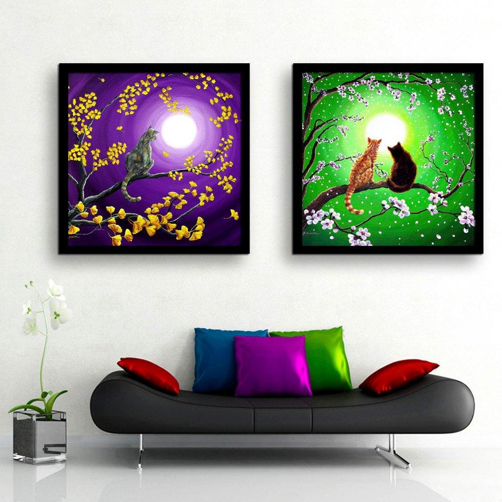 WTOR_Druck Leinwand Kunst, Katze in einem Baum, ist voller Blumen ...