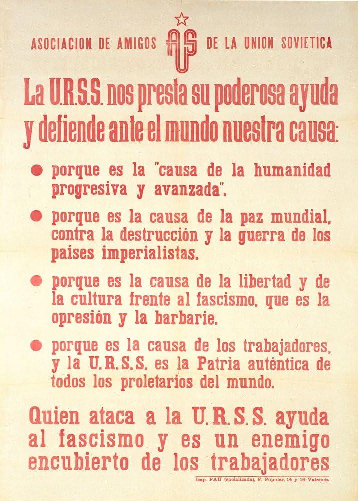 Vintage Guerra Civil Española 1936-39 biosíntesis asociación de amigos de la URSS 250gsm ART tarjeta fonón A3 cartel de la reproducción: Amazon.es: Oficina y papelería