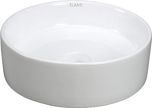 Elanti Collection EC1102 Sink, Round Flat Side Bowl 13.6 x 13.6 x 4.5 Inches , White