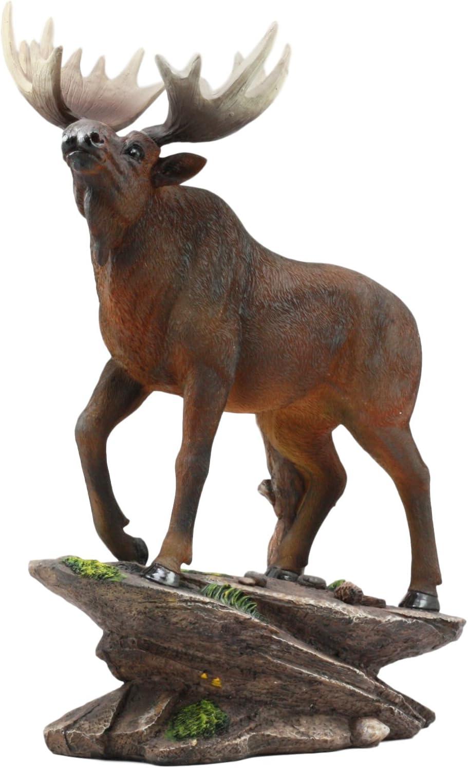 "Ebros The Emperor Pride Realistic Bull Moose Standing On Rock Statue 13.5"" Tall Wildlife Elk Deer Woodlands Decor Figurine"