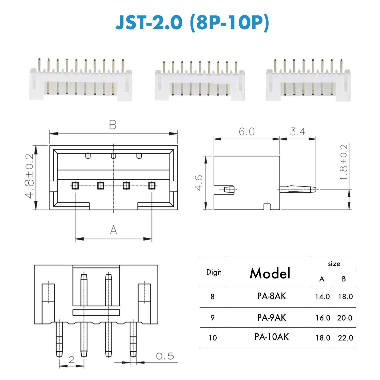 CQRobot 670 Pieces 2.0mm JST-PH JST Connector Kit. 2.0mm Pitch Pin on