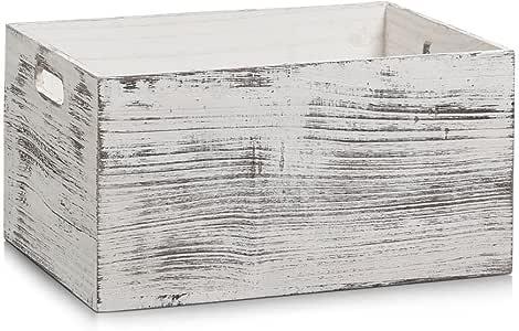 Zeller - Caja de almacenaje (Madera, 35 x 25 x 18 cm), diseño rústico, Color Blanco: Amazon.es: Hogar
