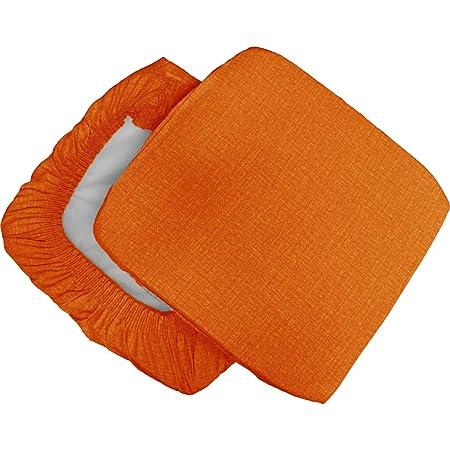 Russo Tessuti 6 Cuscini Sedie Cucina Coprisedia Imbottiti Tinta Unita Vari Colori Elastico Arancione