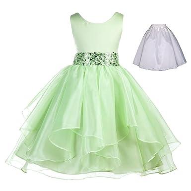 c147cb94d32 ekidsbridal Wedding Ruffles Organza Flower Girl Dress Sequin Toddler  Pageant Free Petticoat 012s Apple Green