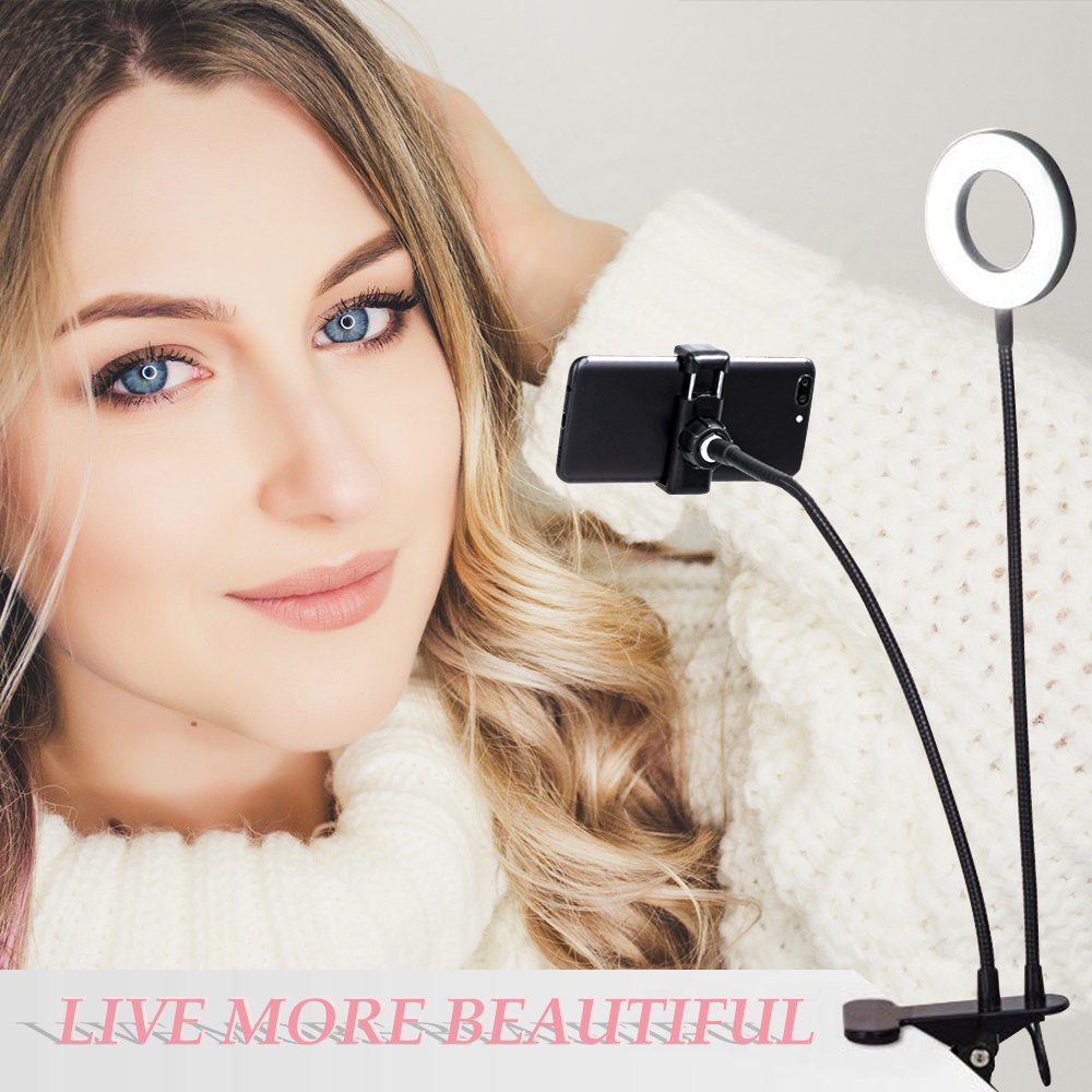 K&F Concept Selfie Ring Light with Cell Phone Holder for Live Stream and Makeup, LED Light [3-Light Mode] [10-Level Brightness] with Remote Control and Flexible Hose Bracket for iPhone Android by K&F Concept (Image #9)