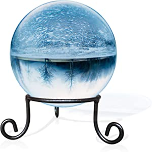 """EcoRise Black Iron Ball Stand - Gazing Globe Stand for Balls, Sphere Holder Wrought Iron Display Stand, Crystal Ball Stand, Glass Bowl Ring Metal Egg Stands (4.5"""" Diameter X 2"""" Tall)"""