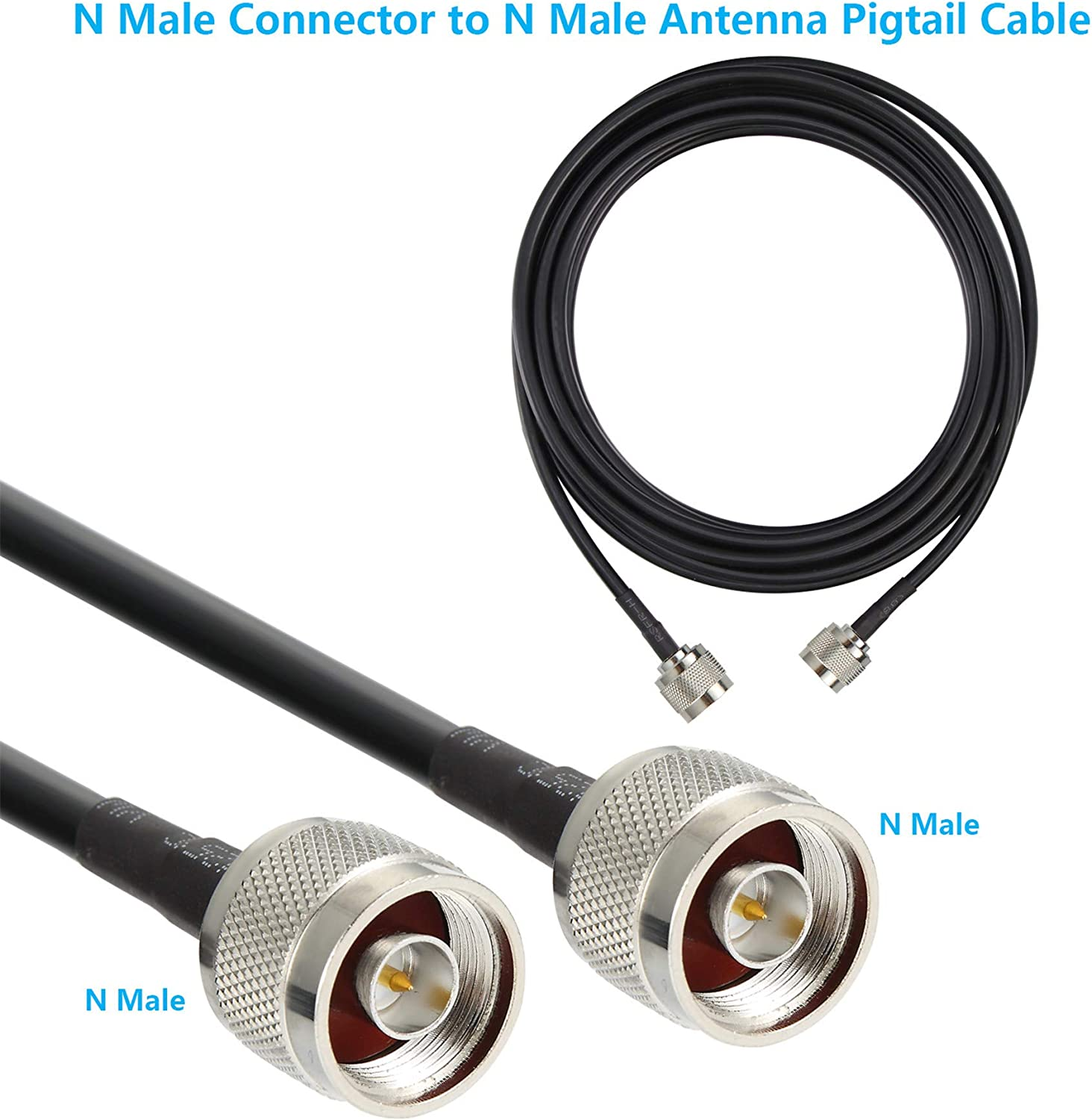 GEMEK Pure Copper Coax Cables for 3G//4G//5G//LTE//ADS-B//Ham//GPS//WiFi//RF Radio to Antenna or Surge Arrester Use 25 ft Low-Loss Coaxial Extension Cable N Male to N Male Connector 50 Ohm Not for TV