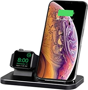 BNCHI 2 in 1 Aluminum Alloy Wireless Charging Station Compatible iWatch Holder 5/4/3/2/1 and Wireless Charger for iPhone 11/11 PRO/X/XR/XS/XS MAX/8 Plus/8(with 2A Adapter)(Black)