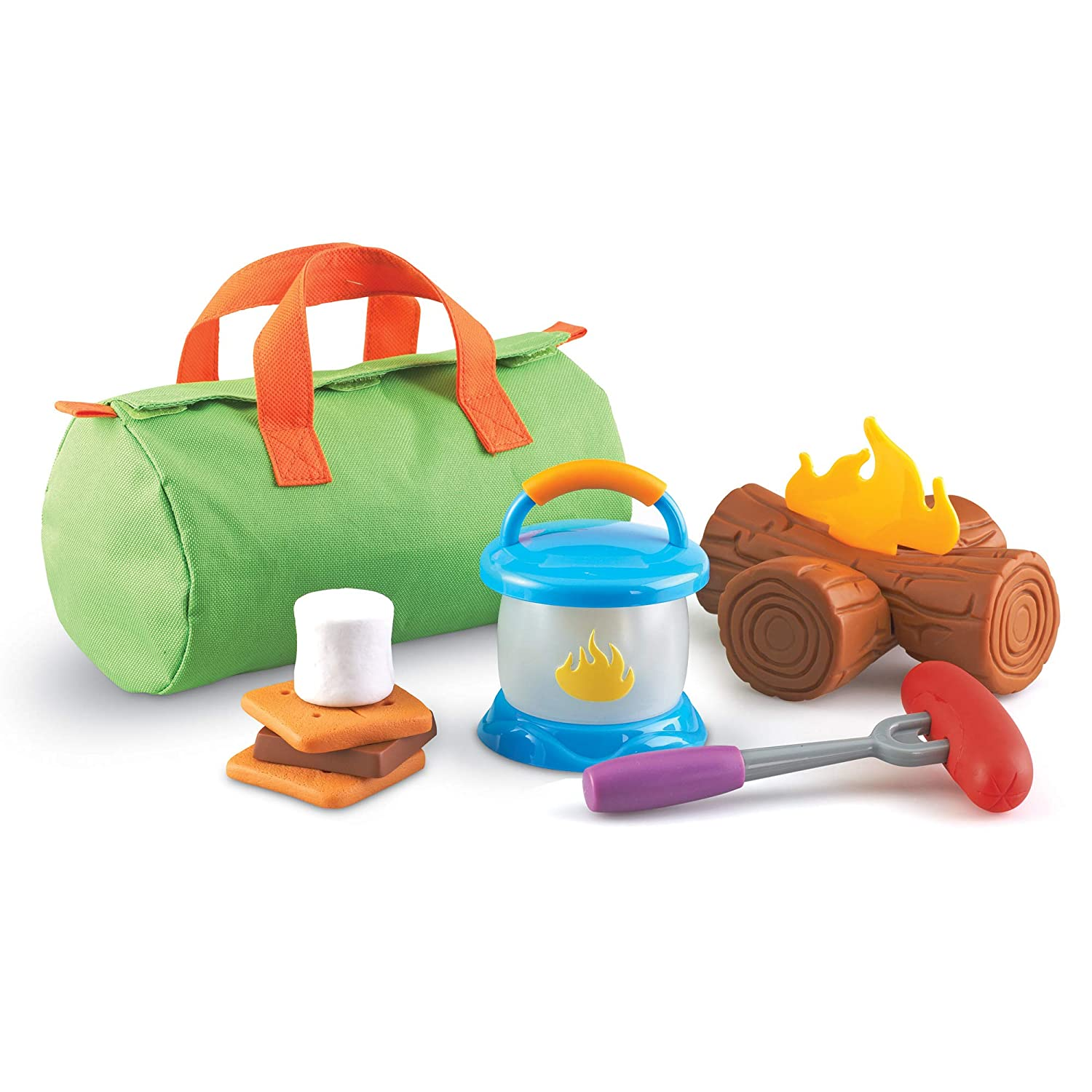 B00T83WRK6 Learning Resources New Sprouts Camp Out!, Camping and Campfire Toy, 11 Pieces, Ages 2+ 71SkH85jkRL