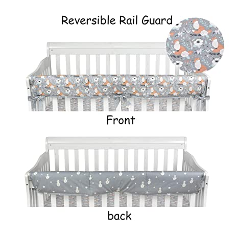 2 x Reversible Baby Cot Crib Teething Rail Cover Protector ~ Animal Train