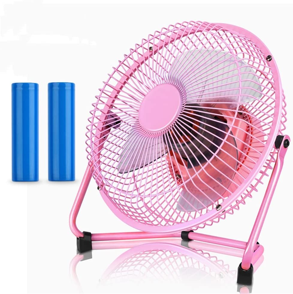 Color : Pink, Size : 8inch USB Table Desk Personal Fan Mini USB Table Desk Personal Fan Metal Design Quiet Operation High Compatibility Black for Home Office Table