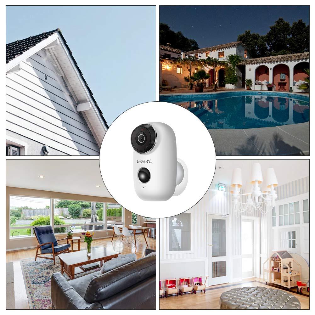 Battery Security Camera, Enow-YL Wireless Rechargeable Battery Powered WiFi Home Security Camera, Waterproof Outdoor Surveillance IP Camera HD 720P with PIR Motion Sensor Night Vison 2-Way Audio