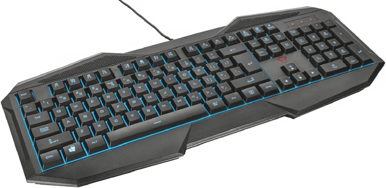 Trust Gaming GXT 830 - Teclado para Gaming Iluminado, con Efecto Anti-Ghosting, Color Negro