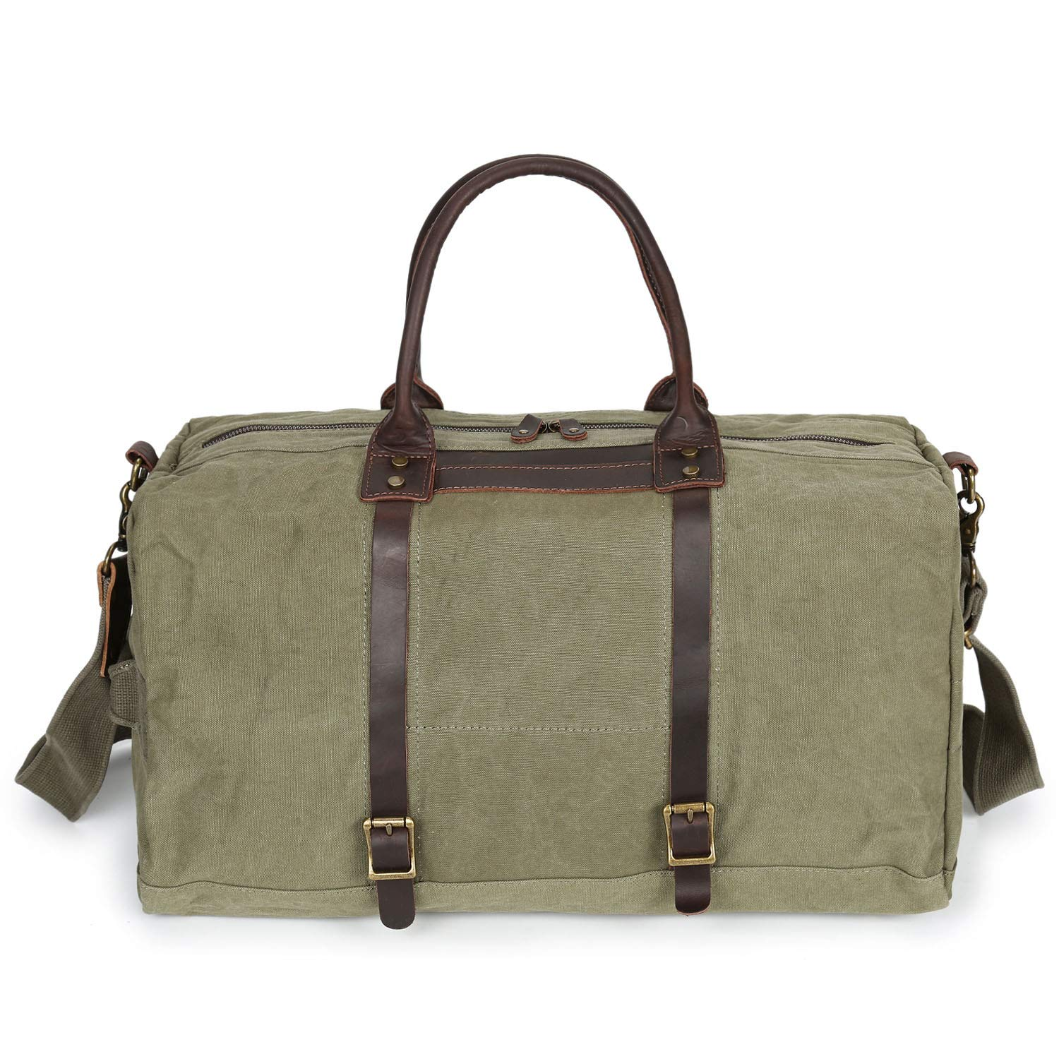 Canvas Leather Cow Hide Carry-On Duffle Weekend Luggage Travel Bag