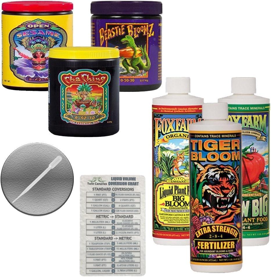 FoxFarm Nutrient Package Bundle: Big Bloom, Tiger Bloom, Grow Big, Cha Ching, Open Sesame, Beastie Bloomz (3 Pints + 3 6oz) + Twin Canaries Chart & Pipette