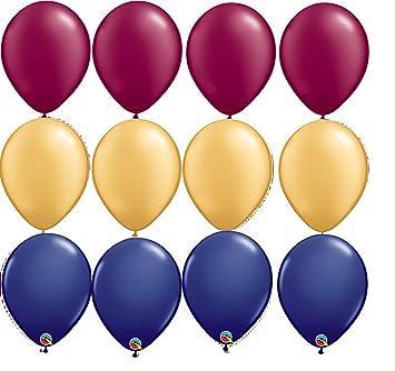 Amazon Com 12 Balloons New Party Burgundy Gold Navy Blue Wedding