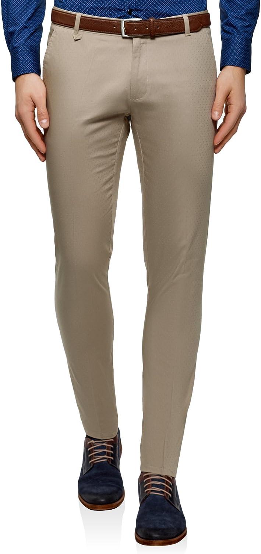 oodji Ultra Uomo Pantaloni in Cotone con Trama Minuscola in Jacquard