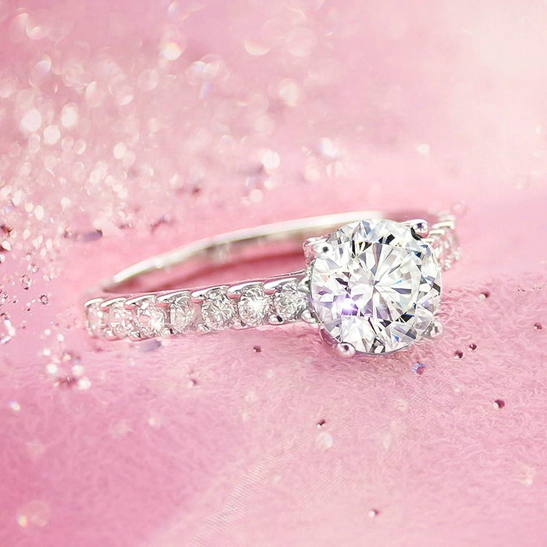 Amazon.com: Gnzoe Jewelry, Round Solitaire Cubic Zirconia Engagement ...