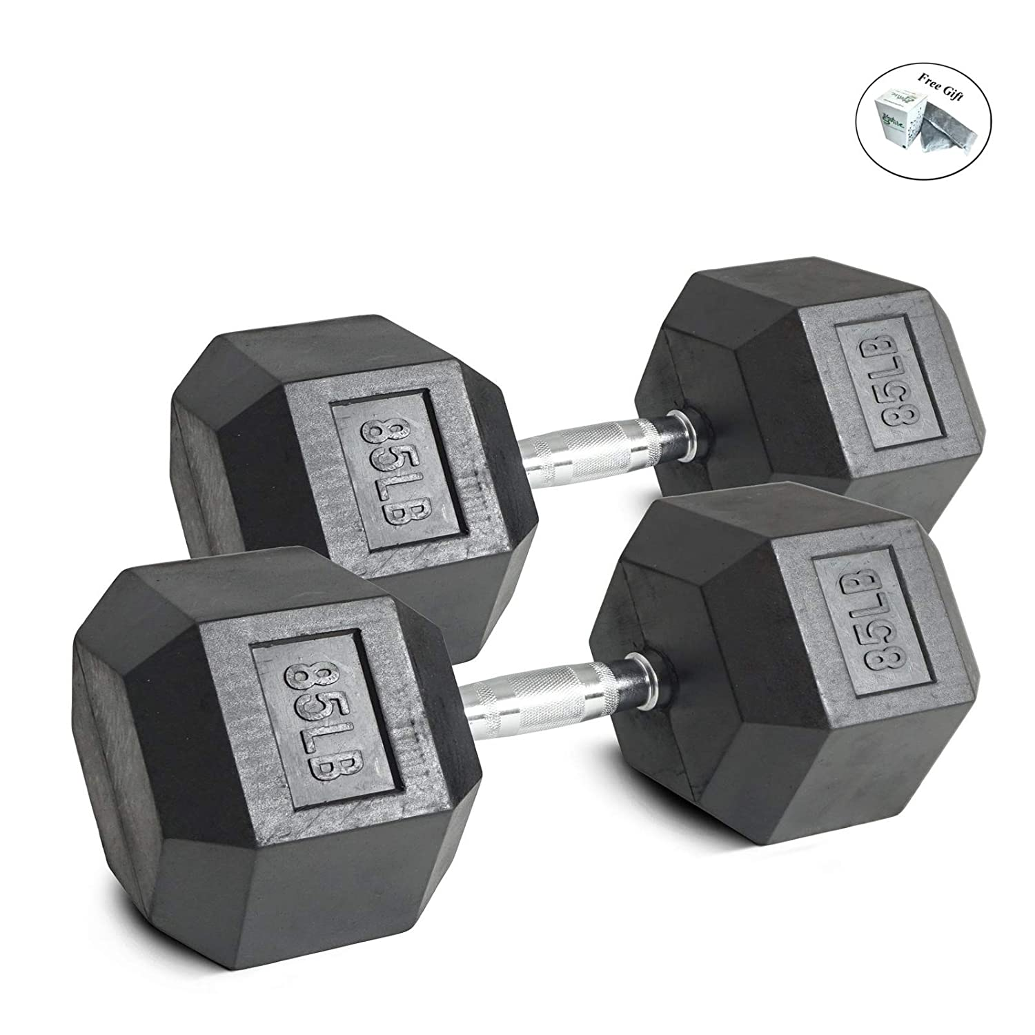 Pair 10 lb Black Rubber Coated Hex Dumbbells Weight Training Set 20 lb Fitness