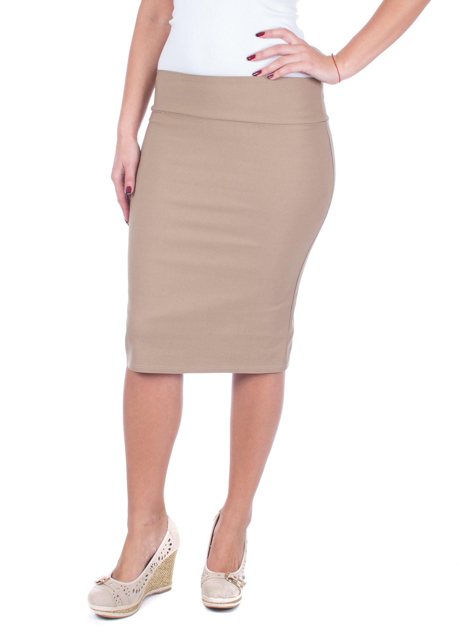 Women Pencil Skirt, Great Casual Business Attire (Dark Khakhi,Medium)