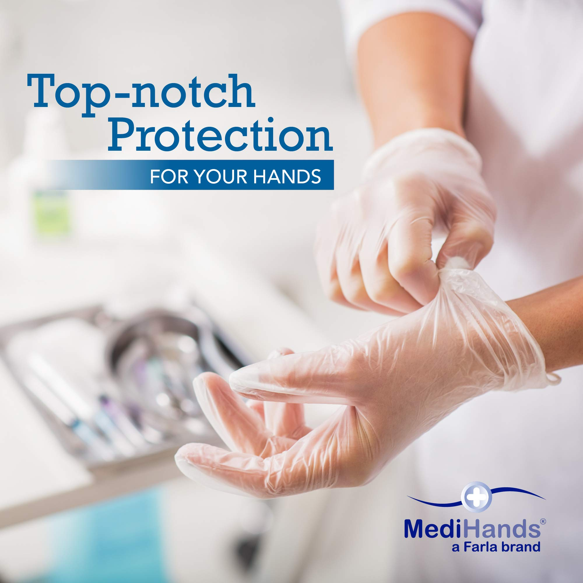 Heavy Duty Disposable Vinyl Gloves, 1,000 Count, Medium – Powder Free, Ambidextrous, Super Comfortable, Extra Strong, Durable and Stretchy, Medical, Food and Multi Use – By MediHands by MediHands (Image #5)