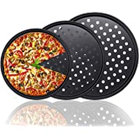 Yangge Pizza Pan Baking Tray Round Aluminium Flat Mesh resistant anti-skid oven Pizza Mold Tray Kitchen Bakeware Tool 7 Inches 2
