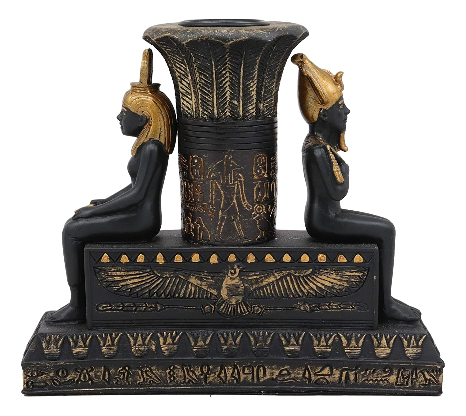 Ebros Ancient Classical Egyptian Black and Gold Seated Isis and Osiris Pillar Candle Holder Figurine Candleholder Home Decor Statue As Decorative Sculpture Gods and Goddesses of Egypt Collectible
