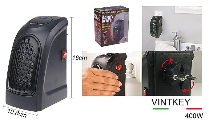 Vinteky® Mini Calentador de Ventilador con enchufe a pared Radiador eléctrico Estufa portatil Calorífero de aire con sistema inteligente del control y la ...