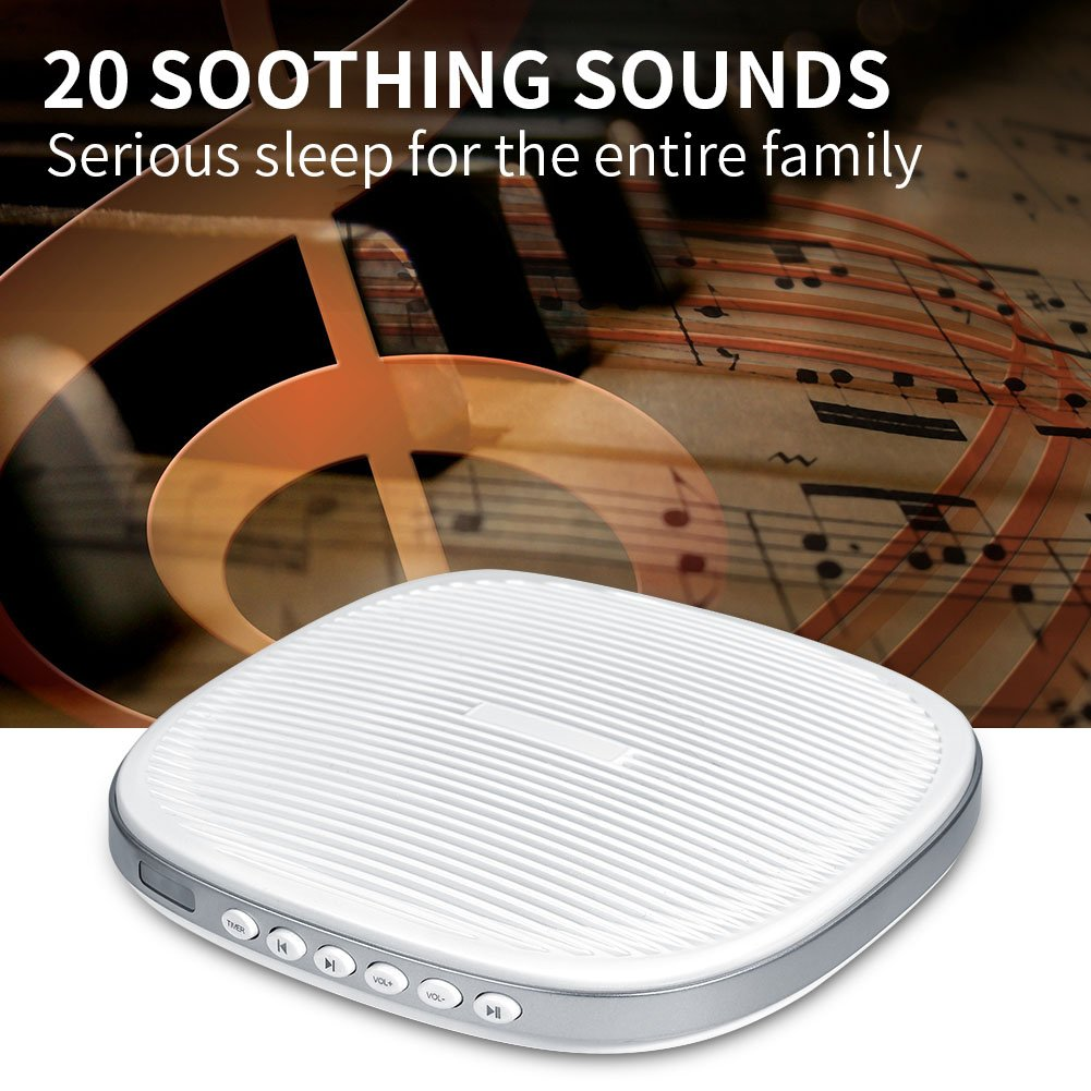 White Noise Machine, Premium Sleep Therapy Sound Machine Portable Spa Relaxation Sound Machine with 20 Natural Soothing Sounds and Sleep Timer for Home Office Baby Travel by Zerone (Image #5)