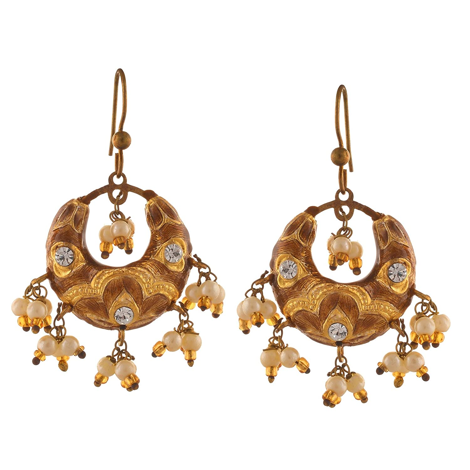 Zephyrr Fashion Golden Hook Chandbali Earrings with Pearls Zircons for Girls