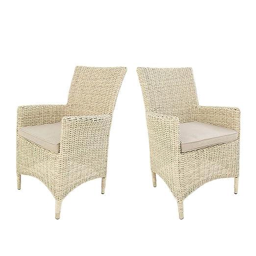 Edenjardi Pack 2 sillones de Exterior, Tamaño: 57x60x92 cm, Aluminio y rattán sintético Color Blanco Envejecido, Cojín Beige