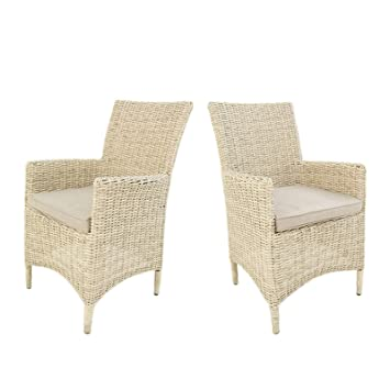 Edenjardi Pack 2 sillones de Exterior | Tamaño: 57x60x92 cm | Aluminio y rattán sintético Color Blanco Envejecido| Cojín Beige | Portes Gratis
