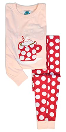 frog and bow girls christmas pyjamas kids hot cocoa pj set girls cotton pjs - Childrens Christmas Pyjamas