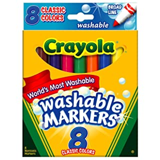 Crayola FBA_58-7808 Washable Markers, Broad Point, Classic Colors, 8/Pack (58-7808) (Pack of 3), Multi