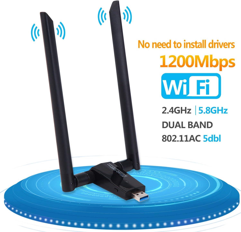 LONOSUN Adaptador inalámbrico WiFi Dongle-USB 1200 Mbps (Plug and Play, no Requiere instalación de Controlador), Adaptador USB WiFi para PC/Computadora de Escritorio/portátil/Tableta con Antena Dual