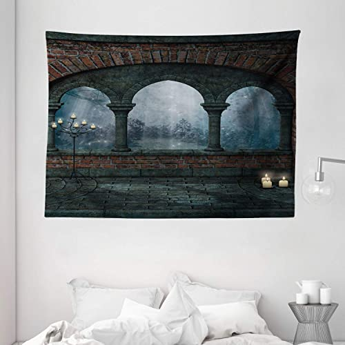 Ambesonne Gothic Tapestry, Medieval Castle at Night with Old Arch and Candles Middle Age Misty Image, Wide Wall Hanging for Bedroom Living Room Dorm, 80 X 60 , Blue Grey