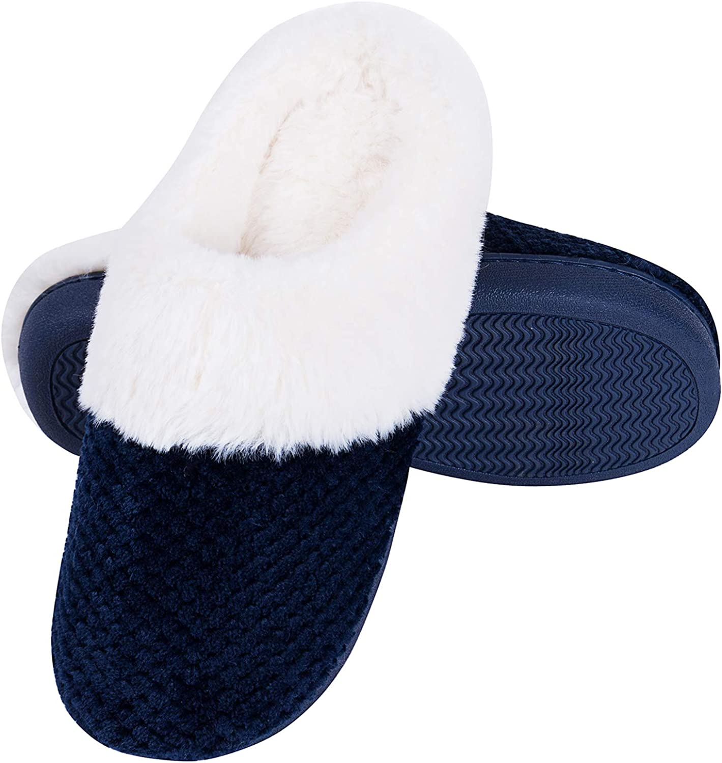 Temi Women's Soft Warm Memory Foam Slippers, Faux Fur Lined Fluffy Slip On House Bedroom Slippers with Indoor Outdoor Anti-Skid Rubber Sole