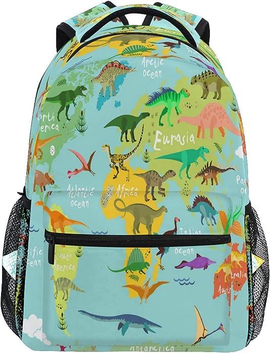 World Map Dinosaur Travel Laptop Backpack Cute Animal Monster Dinosaur Boy Girl Kids School Bag Bookbag 14 inch Laptop Backpack Camping Travel Outdoor Daypack Shoulder Bag
