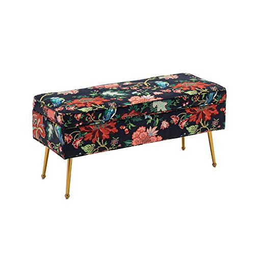 DM Furniture Storage Ottoman Modern Rectangular Colorful Flowers and Birds Pattern Bench Red Living Room Bedroom Ottoman with Gold Metal Legs Red Flowers Style