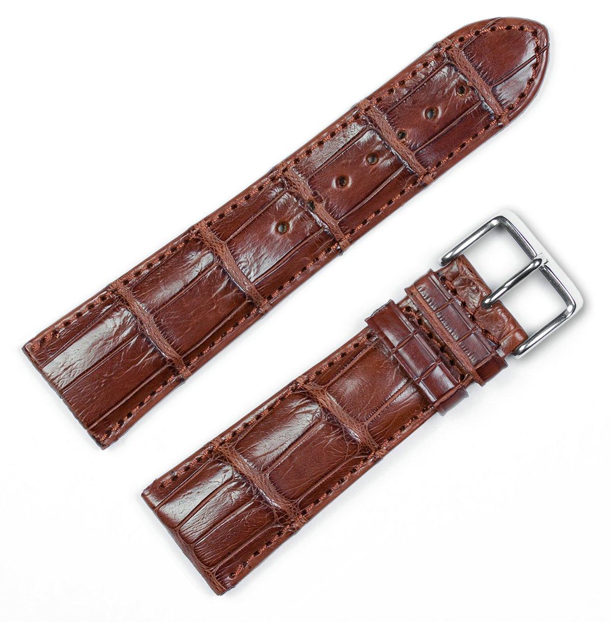 Genuine Alligator Watchband Havana 20mm Watch Band by deBeer
