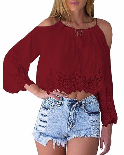 0897f758b27b Amazon.com  Zanzea Womens Long Sleeve Lace Crochet Crop Tops Off ...