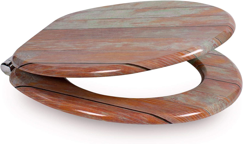alta calidad y muchos motivos asiento c/ómodo Tapa de WC con n/úcleo de madera con descenso autom/ático de Sanfino W1010C Crain montaje f/ácil con instrucciones incl
