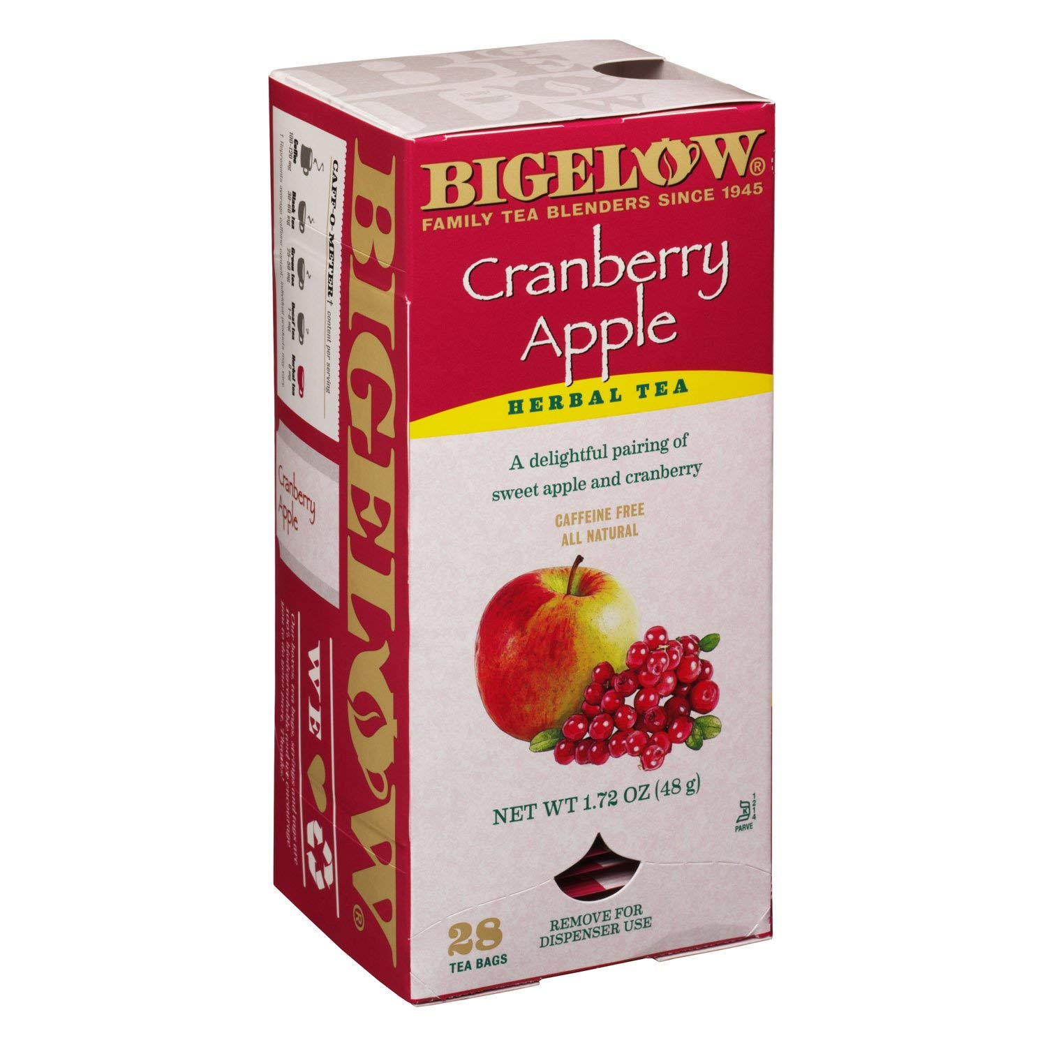 Bigelow Tea Bags, Cranberry Apple Herbal, 28-Count Boxes (Pack of 6)