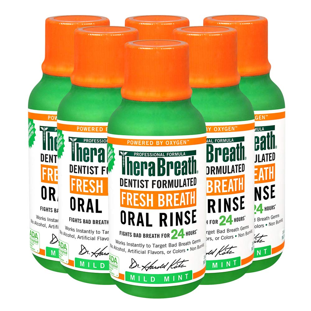 TheraBreath Fresh Breath Oral Rinse, Mild Mint, 3 Ounce Bottle (Pack of 6) : Beauty