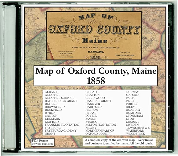 Porter Maine Map.Amazon Com Map Of Oxford County Maine On Cdrom 1858 With