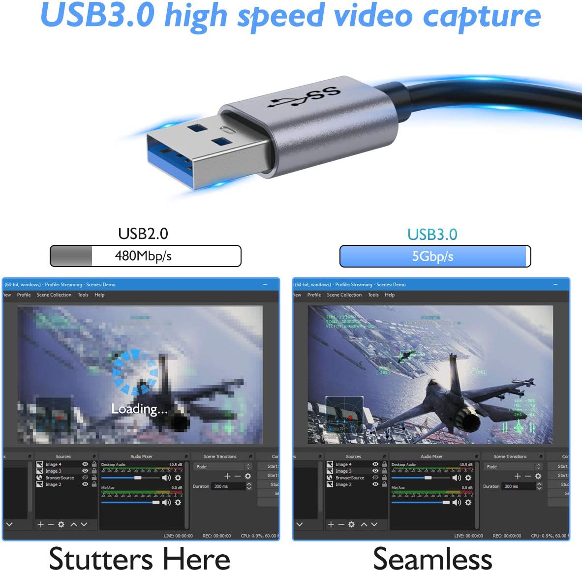 Compatible with PC HDMI to USB 3.0 1080P 60fps Full HD Video//Audio Capture Recorder Device Linux QGeeM Capture Card Mac OS Game Capture Card