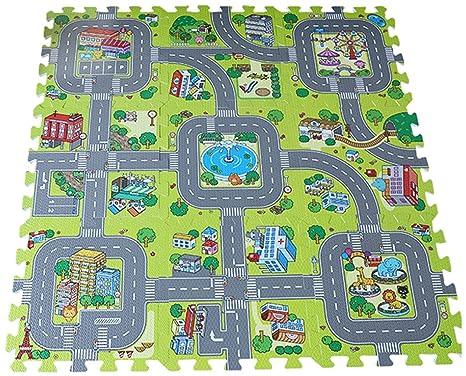 KKINO Alfombra Puzzle de Goma EVA para niños Diseño de Circuito de tráfico 90 x 90. Pasa ...
